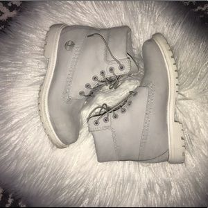 Grey and White Timberlands